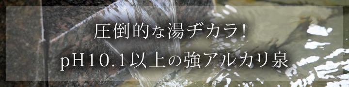 圧倒的な湯ヂカラ!pH10.1以上の強アルカリ泉